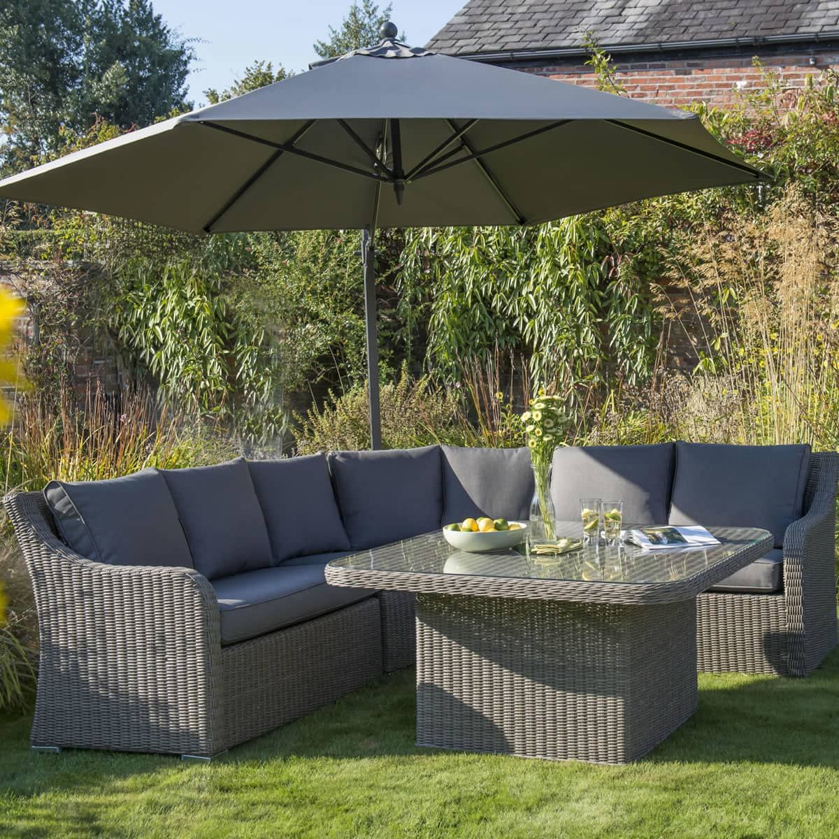 Kettler Madrid Corner Set In Rattan With Taupe Cushions