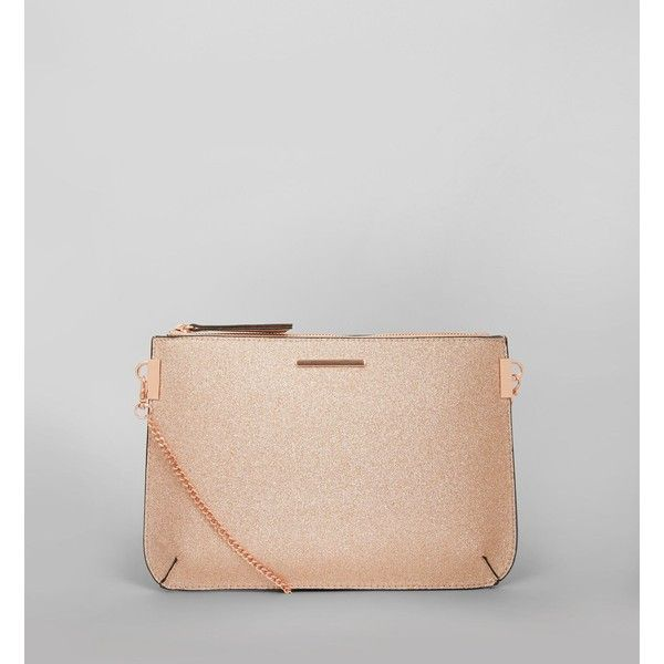 Rose Gold Glitter Curve Flat Clutch 18 Liked On Polyvore Featuring Bags