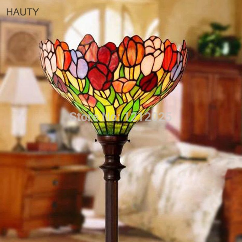 Gorgeous Tiffany Style Tulip Torchiere Floor Lamps For