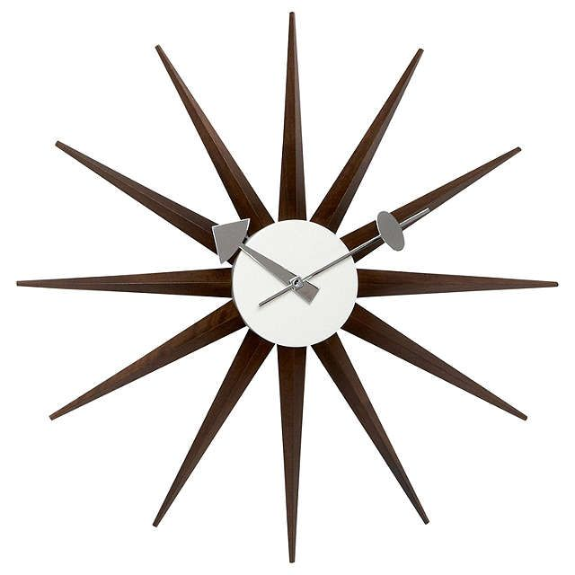 BuyVitra Sunburst Clock Dia47cm Walnut Online At Johnlewis