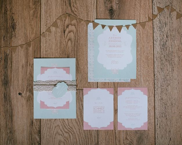"""Einladungskarten - Hochzeitseinladungen SET """"Romance"""" - ein Designerstück von Stennie bei DaWanda"""