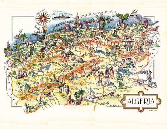 Pictorial Map Of Algeria From The 1940 S Unique Gift Or Home