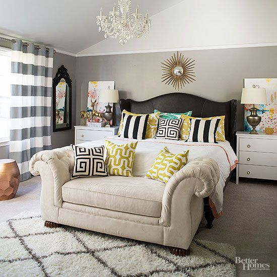 Diy Master Bedroom Update Give Outdated Furniture A Fresh Look With New Upholstery In Stylish Mixed Pattern Room Design