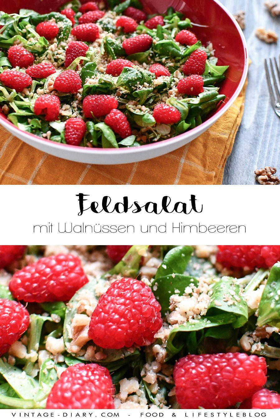 Feldsalat mit Walnüssen und Himbeeren - vintage-diary