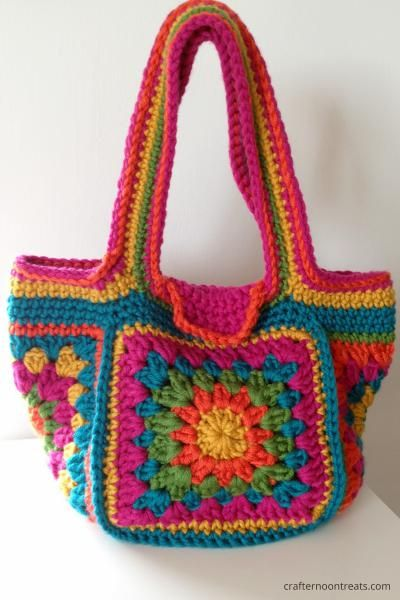 Crochet festival bag - crafternoontreats.com - free tutorial and ...