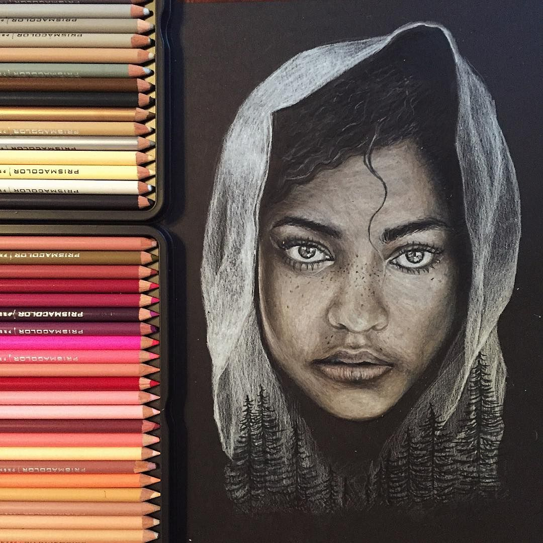 Hi everyone. 👋🏽 have a nice Friday!   This is a drawing I did with prismacolors on black paper 🙂 hope you like it
