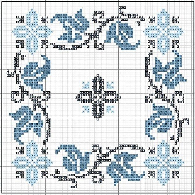 Arabesco azul ponto cruz  ponto cruz  Bordado ponto cruz