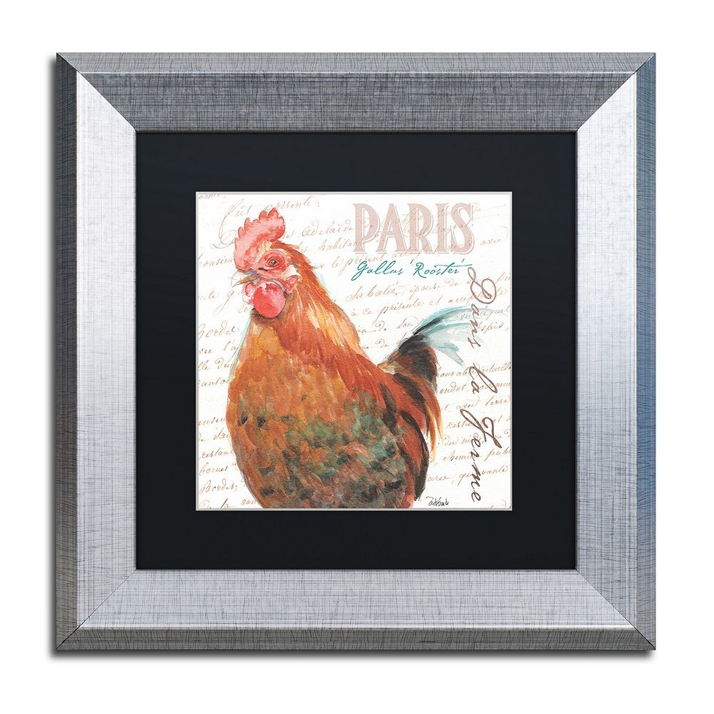 Trademark Fine Art Dans la Ferme Rooster I Silver Finish Framed Wall Art, Black