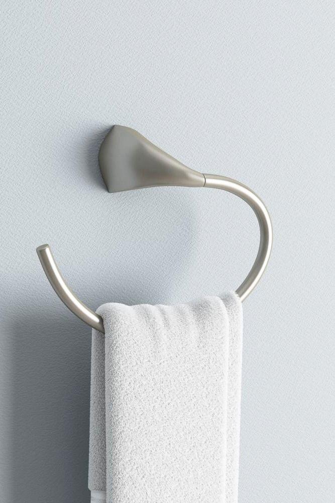 Kohler Mistos Towel Ring In Vibrant Brushed Nickel In 2019 Bathroom Project Ideas Towel Rings Bathroom Modern Towel Rings