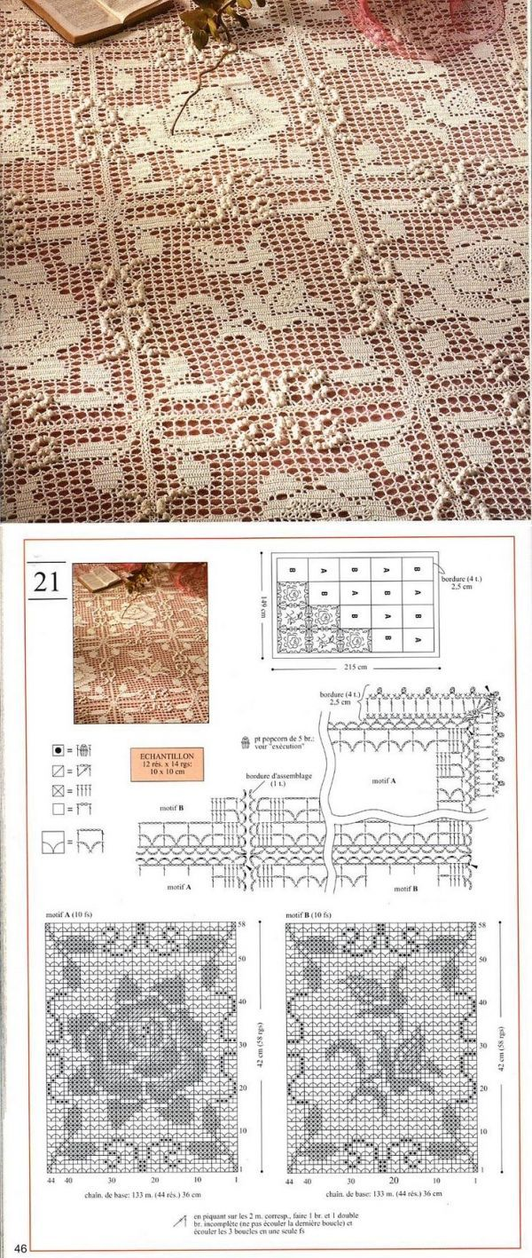 Filet crochet lace squares (rose and blossom - leaves motifs) for a tablecloth or bedspread ~~ Sucateando by Rogeria Costa