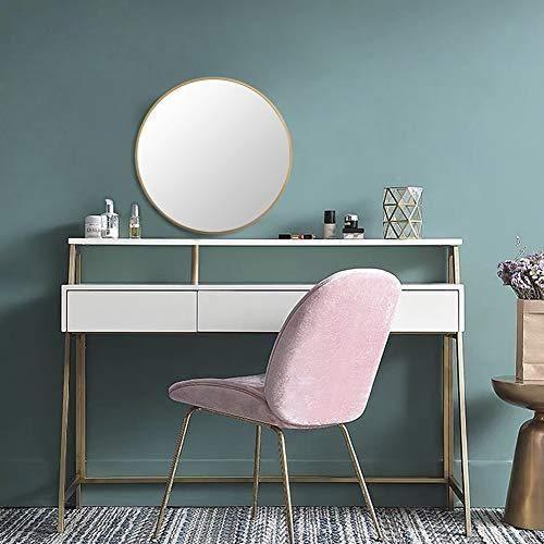 """Photo of Circle Wall Mirror, 15.7""""Modern Brushed Gold Metal Frame"""
