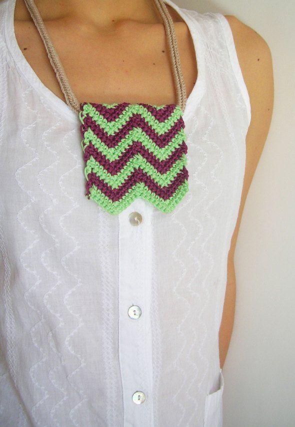 DIY zigzag necklace/ Hazlo tú mismo, collar zig-zag | crochet jewels ...