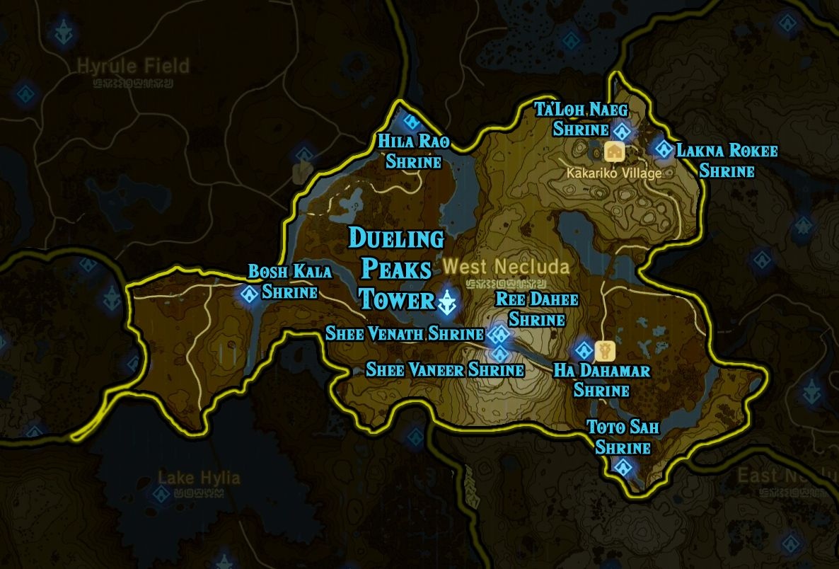 Zelda Breath of the Wild shrine maps and locations
