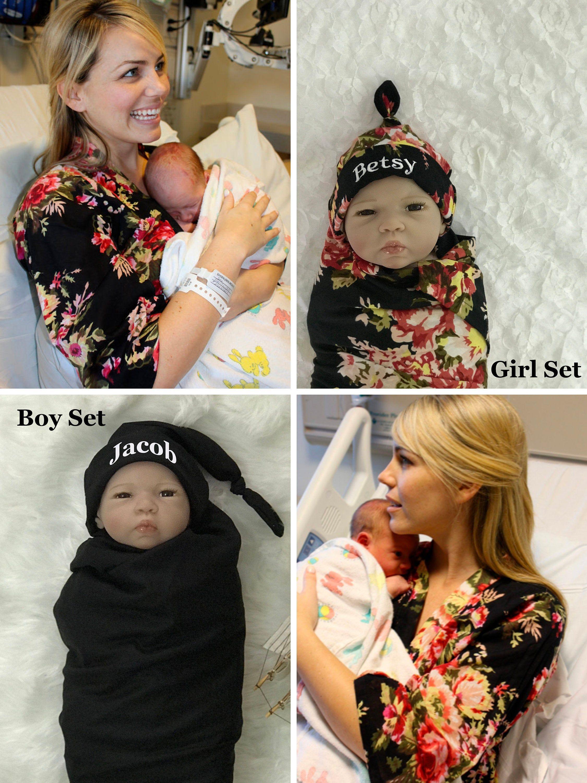 Hospital Robe And Matching Baby Swaddle Robe And Swaddle Set Etsy Baby Robes Swaddle Set Boy Swaddle Set Girl