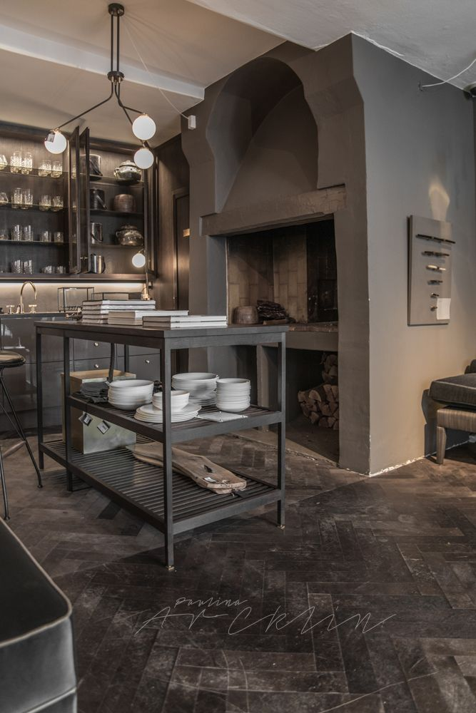 Stone And Wood Make A Dark Masculine Interior: RUE VERTE STORE, COPENHAGEN