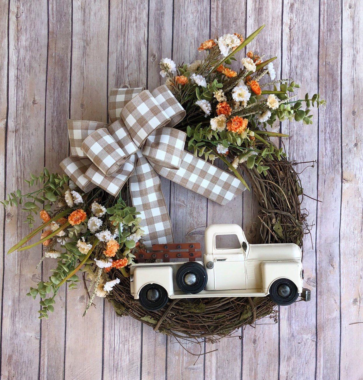 Photo of Fall Wreath | Truck Wreath | Front Door Wreath | Farmhouse Wreath | Eucalyptus Wreath | Grapevine Wreath | Metal truck decor