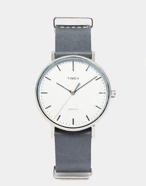 ac0172674ff9 Timex Weekender Fairfield Leather Watch In Black TW2P91300. Grey band