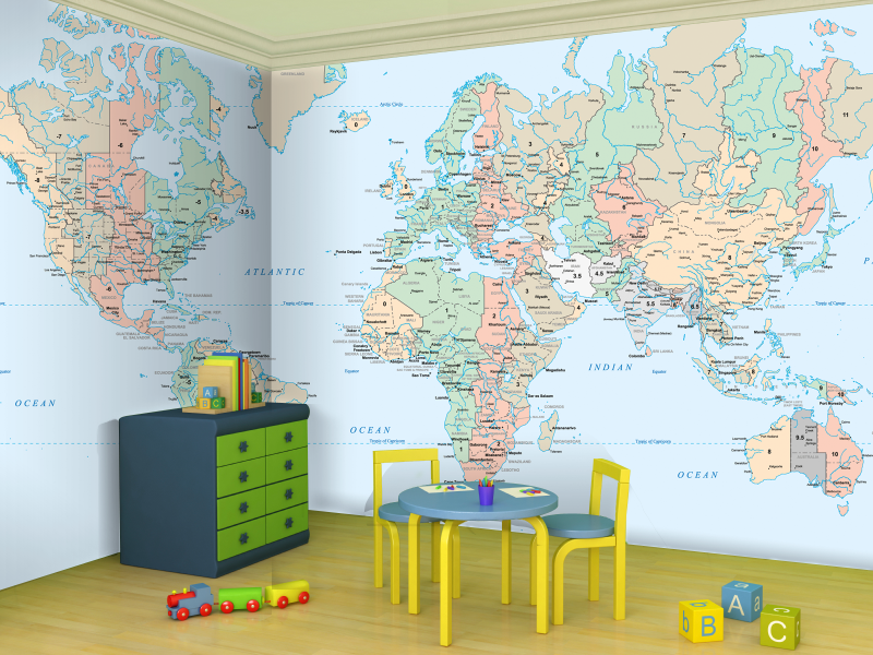 Kids room world map wallpaper from wallpapered.com | Baby in 2019 ...