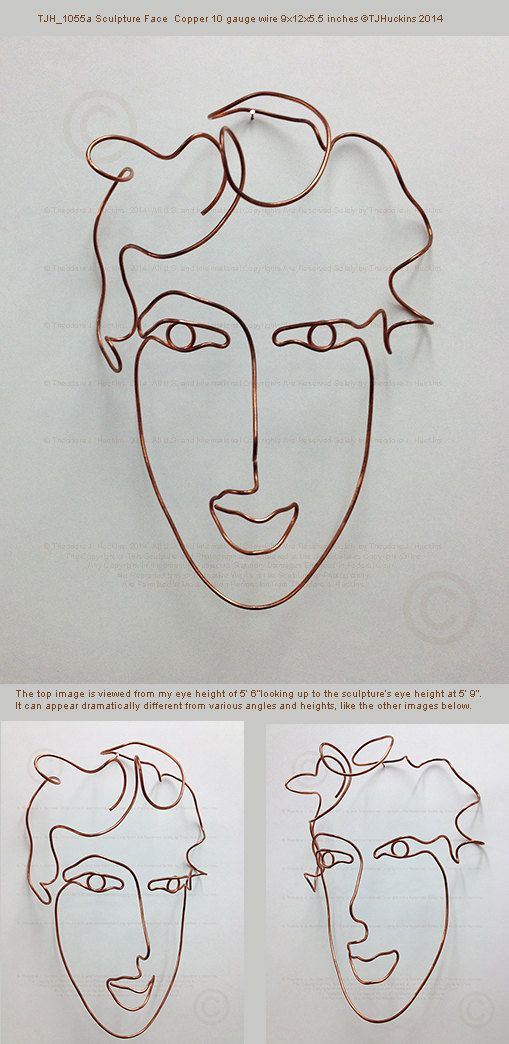 Woman\'s face wire wall art sculpture 9\