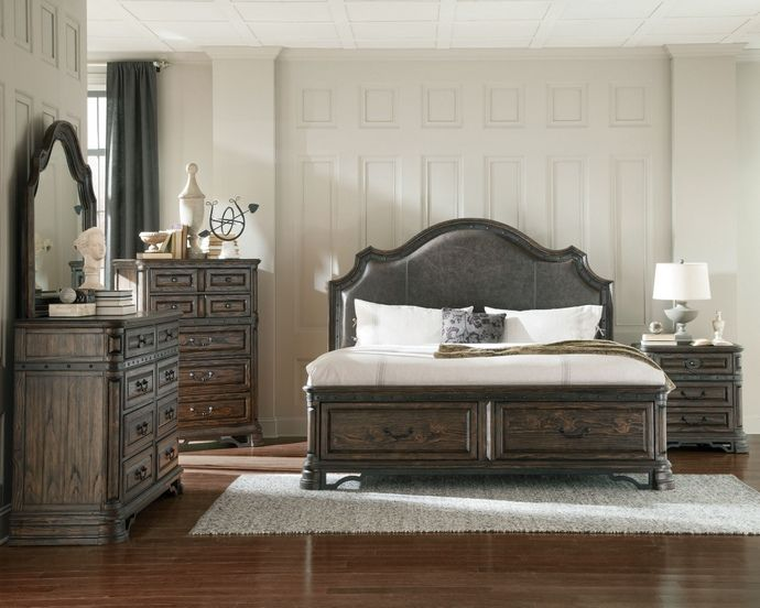 5 pc Carlsbad II collection rustic style dark brown wood finish ...