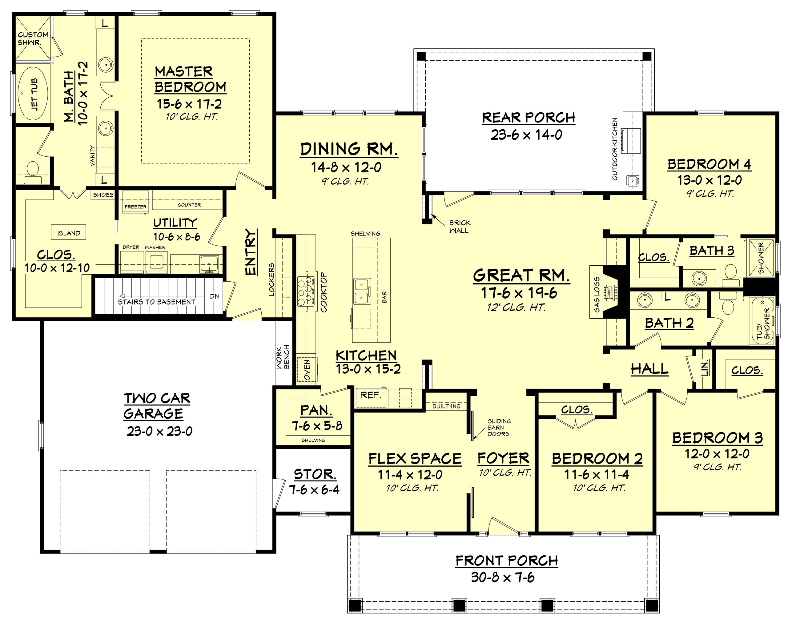 Craftsman style house plan 4 beds 3 baths 2639 sq ft for Floor plans 4 bedroom 3 bath