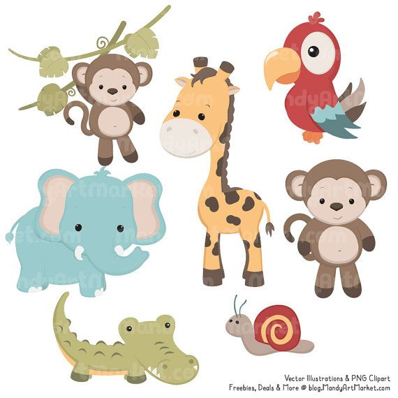 Cute Vintage Jungle Animal Clipart Cute Safari Clipart Etsy Jungle Animals Clipart Jungle Animals Animal Clipart