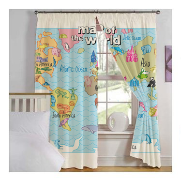 world map for kids window curtains hand drawn design fun maps for kids