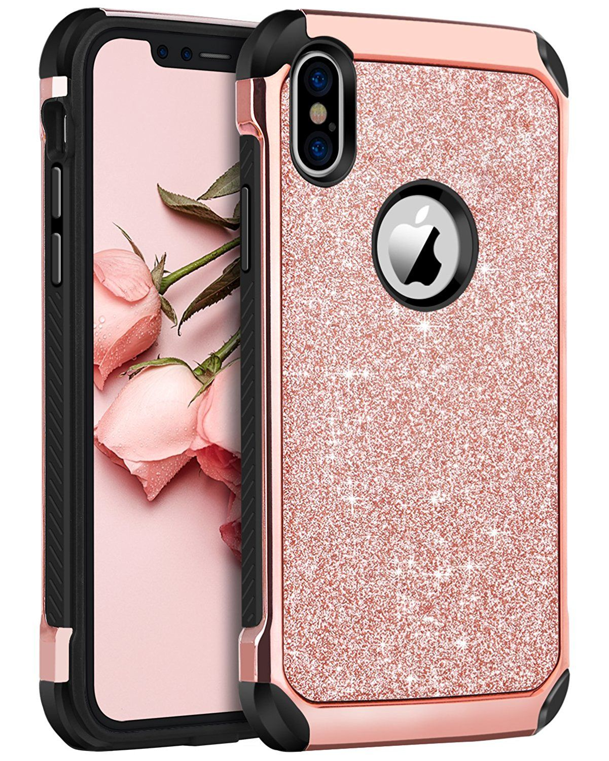 Iphone X Case Iphone 10 Case Bentoben Shockproof Glitter Sparkle Bling 2 In 1 Laminated With Shiny Glitter Iphone Case Sparkle Phone Case Sparkly Iphone Case