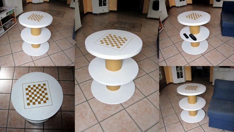 Tavolino fatto con due bobine avvolgicavo strange idea for home