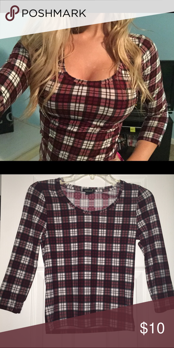 soft tight quarter sleeve plaid top only worn once and in perfect condition. super soft and perfect for fall / with a scarf. only selling because I'm running out of space! Forever 21 Tops Blouses