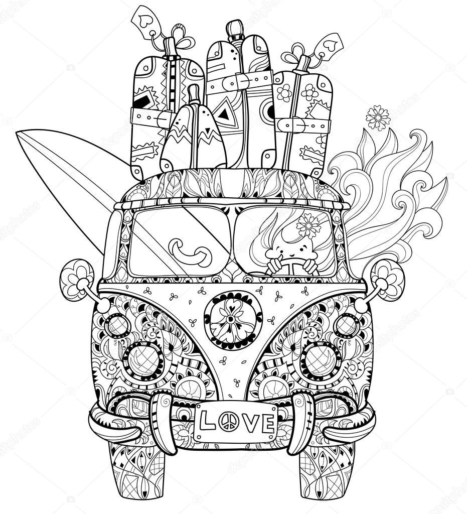 Descargar - Dibujado a mano doodle contorno retro autobuses viaje ...