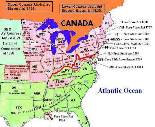 The Routes Followed By Escaped Slaves To Canada Underground - Map of us slave states