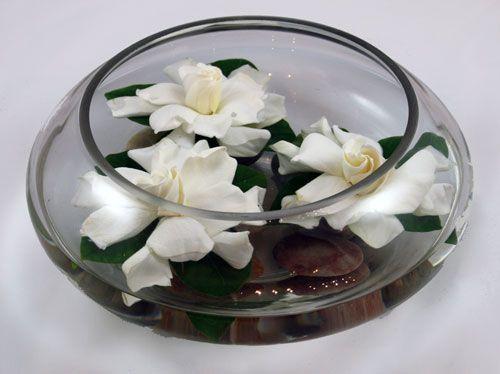 Floating Gardenia Bowl Flower Arrangement Wedding Floral