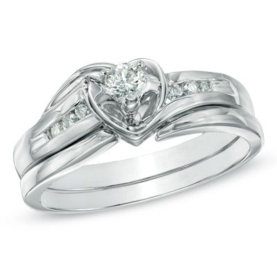 tw diamond heart bridal set in 10k white gold view - Heart Wedding Ring Set