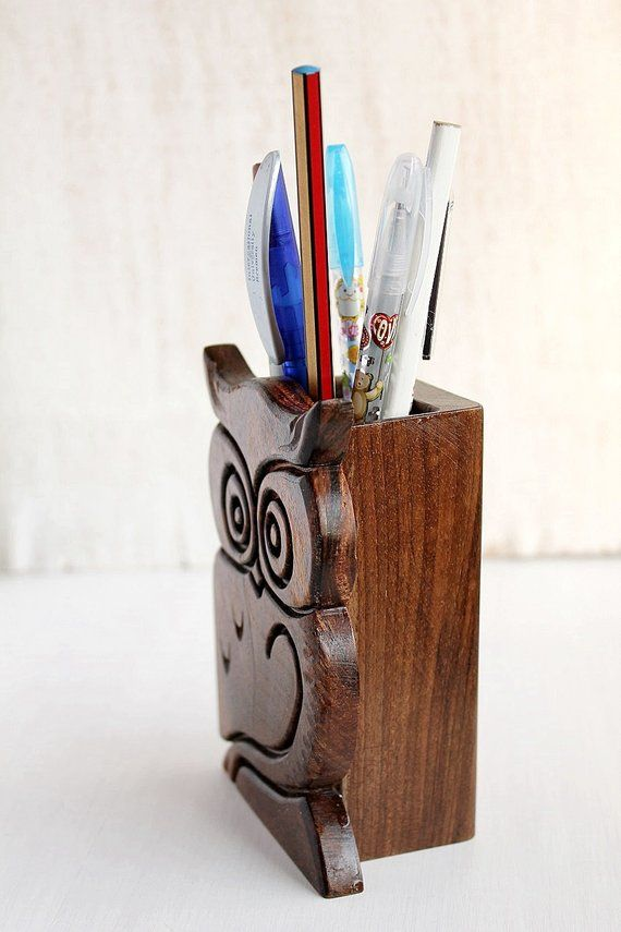 Wood Pen Holder Office Pen Organizer Carved Owl Pen Stand Desk