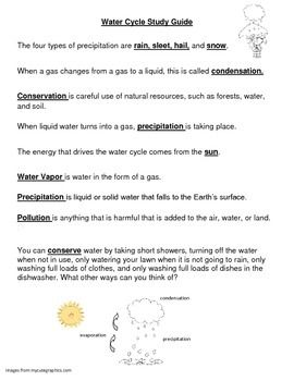 Water Cycle Study Guide, Quiz, and Answer Key | Quizzes and ...