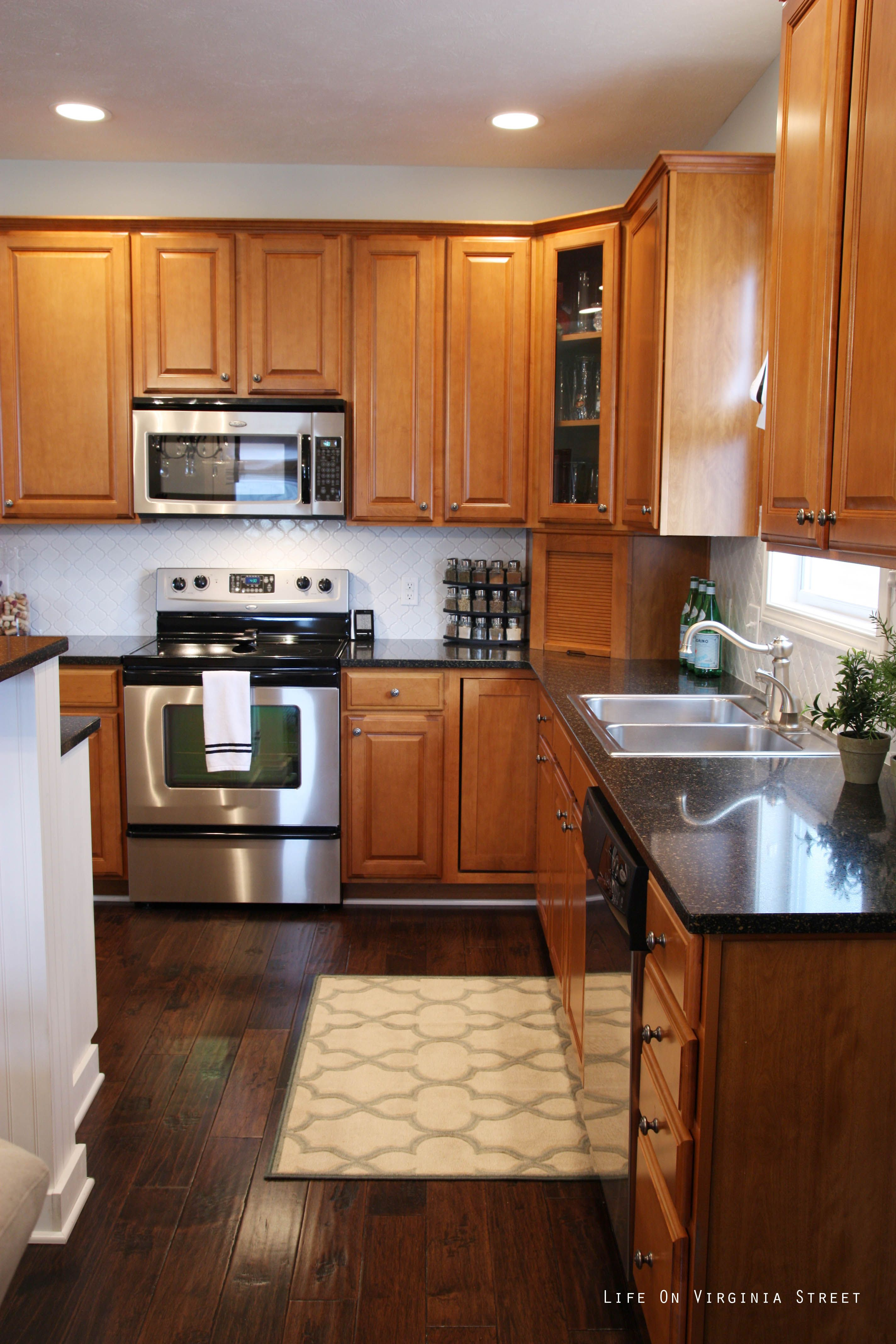 First Home : Home Tour #2   Maple kitchen cabinets ... on Kitchen Tile Backsplash Ideas With Maple Cabinets  id=74466