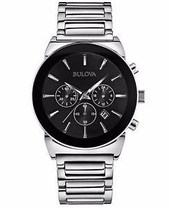 Bulova Men s 96B203 Quartz Chronograph Black Dial Bracelet 41mm Watch 59f85588aa