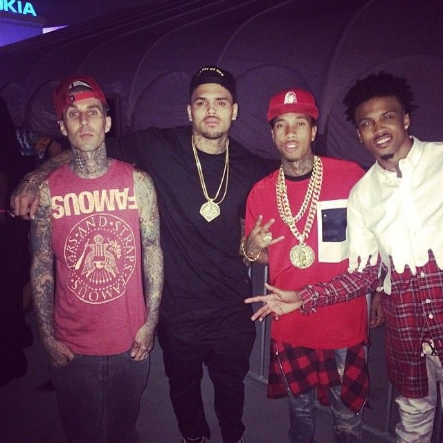 Chris Brown With Travis Barker Tyga And August Alsina Chris Interesting August Alsina Quotes Of Carlos