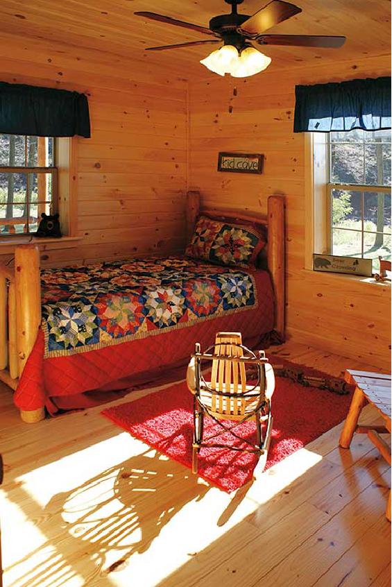Log Cabin Bedroom Log cabin bedrooms, Modular log homes