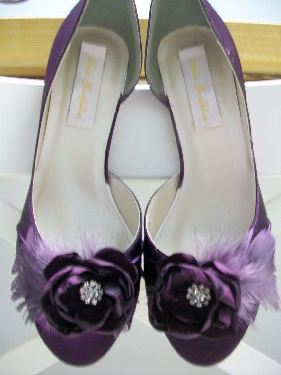 Purple Feather Shoes Plum Wedding Bride Eggplant 2 5 Heel Aubergine Shoes 164 00 Purple Wedding Shoes Handmade Wedding Shoes Wedding Shoes