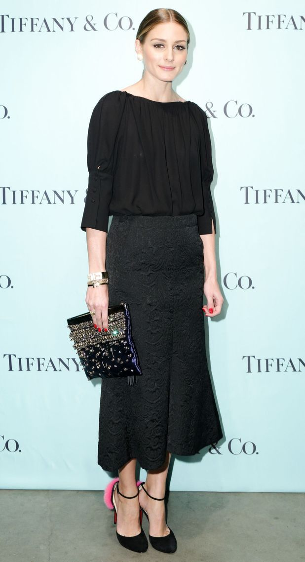 1480980733e Olivia Palermo wears Tibi s Lia jacquard skirt and demonstrates how to wear  all-black without being boring.