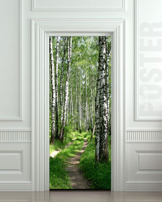Wall Door Sticker Birch Forest Road Way Pageway Mural Decole Film Poster 31x79 80x200cm