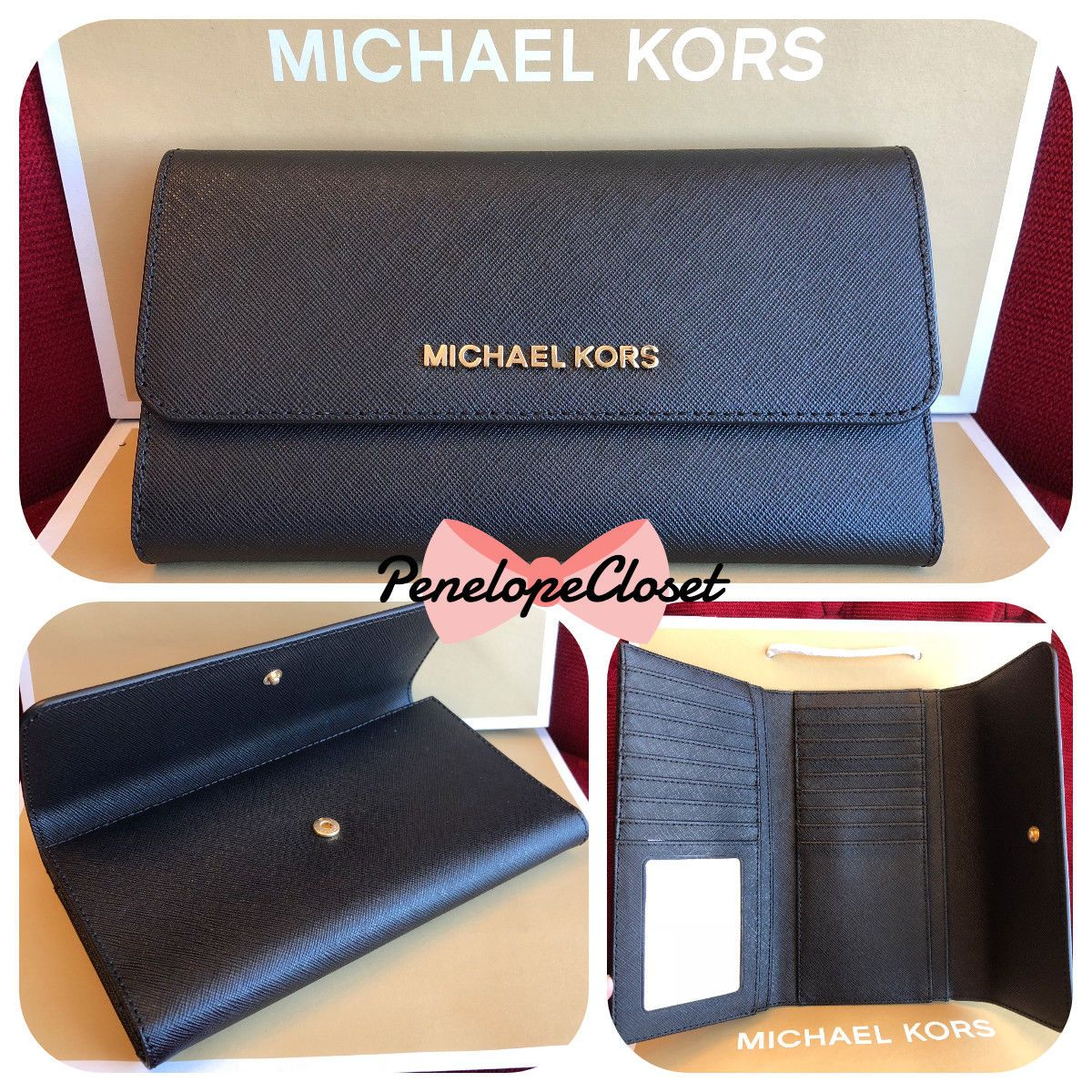 53b3bb95b9 NWT MICHAEL KORS JET SET TRAVEL SAFFIANO LEATHER LARGE TRIFOLD WALLET IN  BLACK