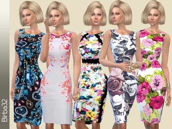 The Sims Resource: Summer Floral dress by Birba32 • Sims 4 Downloads