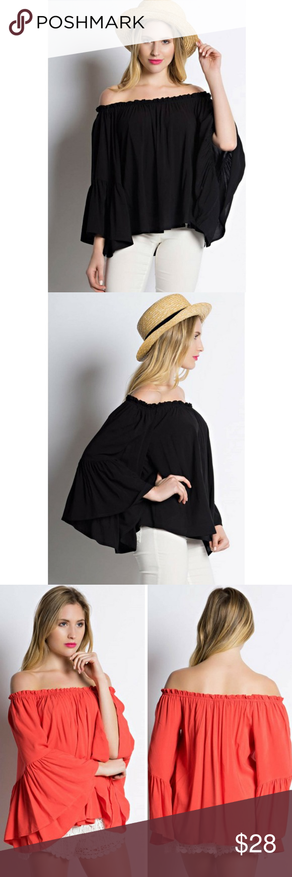 55c0715e43269 Bell Sleeve Off Shoulder Ruffle Top Solid off shoulder bell sleeve ruffle  top. Dress it up with jeans and accessories in heels or dress down with  sandals ...