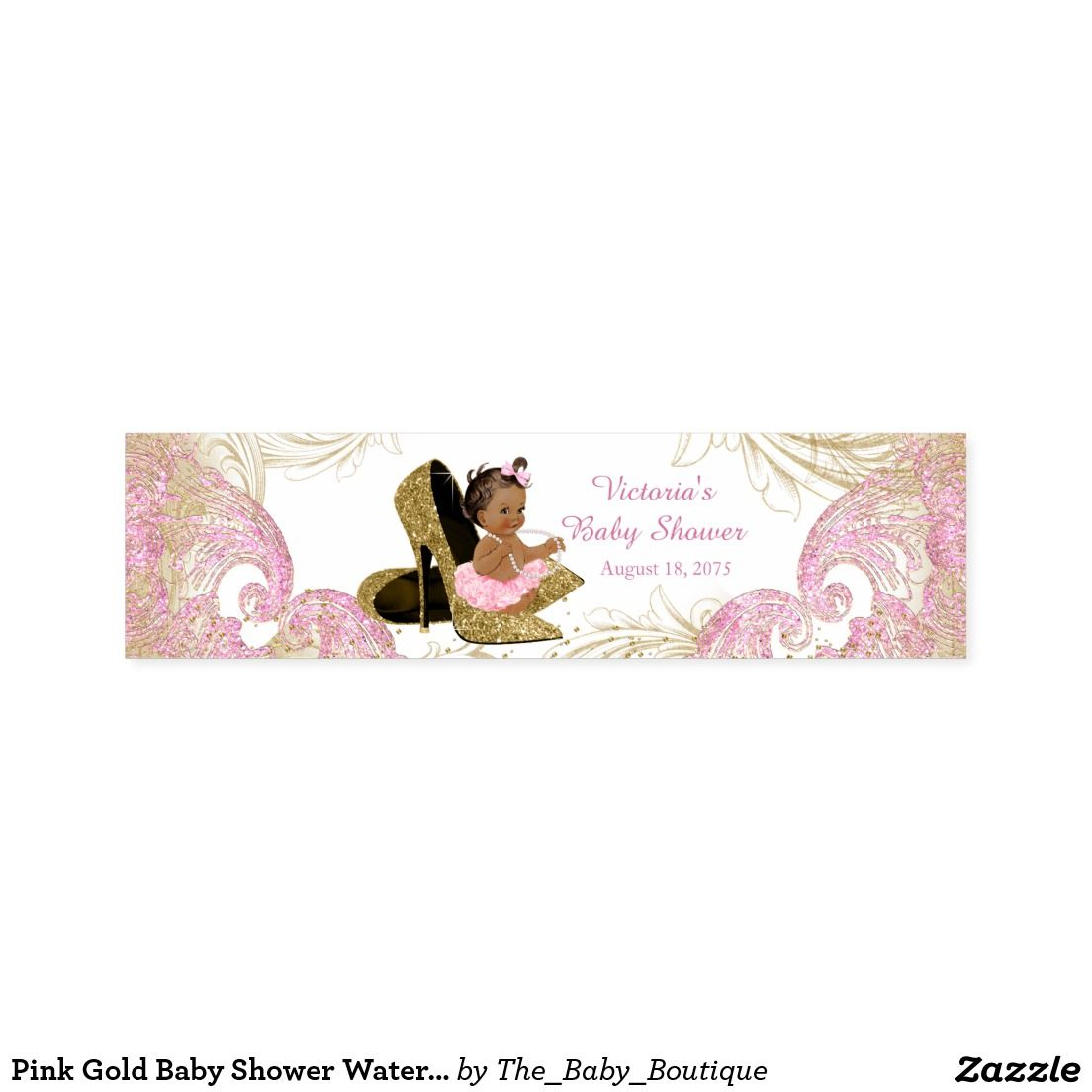Pink Gold Baby Shower Water Bottle Labels Ethnic Girl Baby Shower