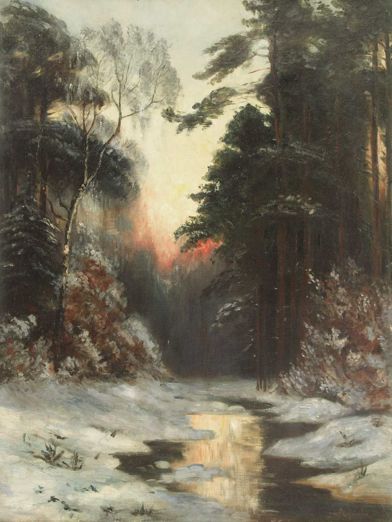 Stream in a Winter Landscape with Evening Sun, Ivan Fedorovich Choultsé