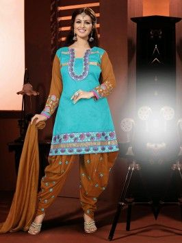 Blue Chanderi Suit With Resham Work www.saree.com