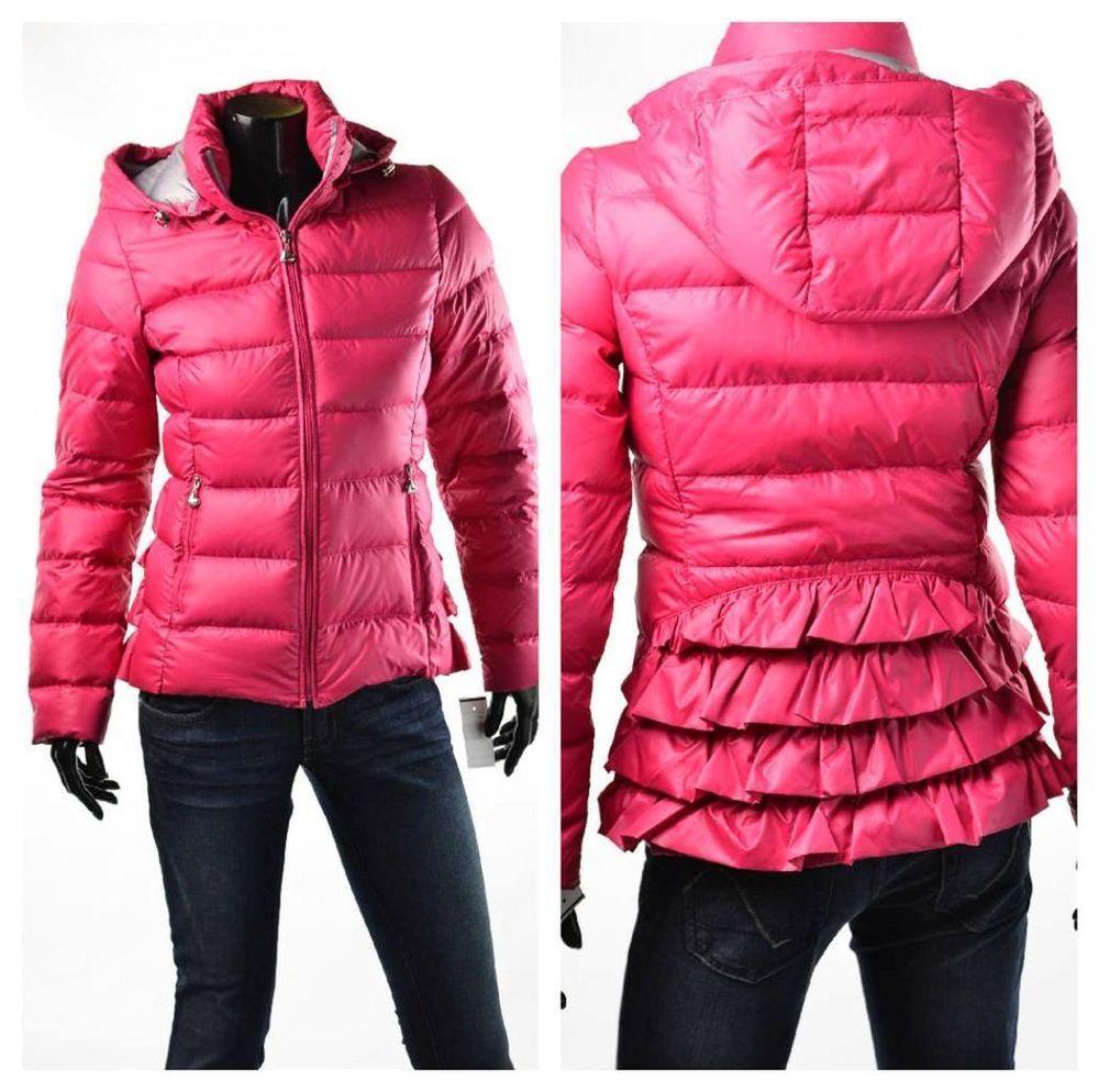 Betsey Johnson Coat Womens Outerwear Hot Pink Ruffle Back Down Jacket Sz XS  NWT 80fa7baf278